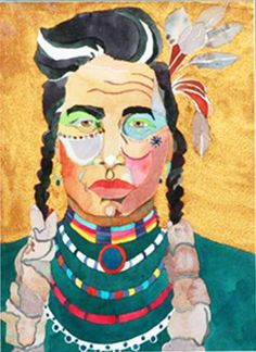 Linda Lucy Lunde framed watercolor http://www.luckystargallery.com/product/linda-lucy-lunde-framed-watercolor-indian-in-teal/