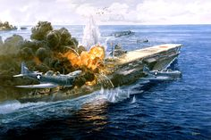 El fin del Akagi en la batalla de Midway, cortesía de Tom Freeman. Más información en www.elgrancapitan.org/foro