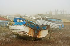 Old boats in the mist Vintage Boats, Old Boats, Sail Away, Mists, Planes, Trains, Sailing, Salt, Ships