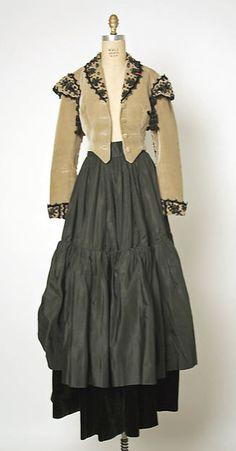 Evening ensemble Design House: House of Balenciaga  Designer: Cristobal Balenciaga  Date: fall/winter 1946–47 Culture: French Medium: silk, cotton, jet Accession Number: C.I.58.34.27a, b