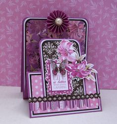 Betsy here this afternoon to share some Cards made with the gorgeous Violet Crush collection from Kaisercraft. Some Cards, Pop Up Cards, Paper Crafts, Diy Crafts, Shaped Cards, Scrapbook Paper, Scrapbooking, Beautiful Handmade Cards, Fall Cards