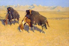 Frederic Remington (American, 1861–1909), Indians Simulating Buffalo. Oil on canvas, 1908. Toledo Museum of Art. Bent over their grazing ponies with buffalo skins thrown over them, two Native Americans of the western plains employ a time-honored hunting trick of disguising themselves as bison. A wagon train barely visible in the distance, however, suggests the camouflaged men are scouts rather than hunters.