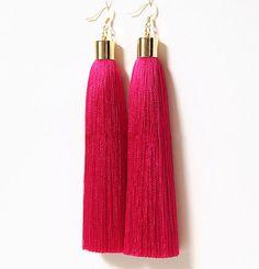 Custom Tassel Earring, Luxury Tassel Earring With Gold Metal Cap, Long Tassel Earring, Large Statement Earrings, Silk Tassel Jewelry