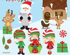 Santa y sus amigos Set de Clip Art y Papeles por pixelpaperprints