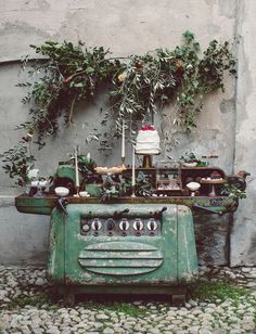 vintage dessert table — industrial sewing machine typical of an old Filanda, Italy
