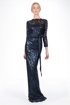 Paillette Embroidered Lace Boatneck ¾ Sleeve Gown in Navy - Mother of the Bride - Wedding | Tadashi Shoji