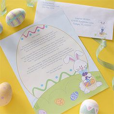 Surprise your little one with a personalized letter, written especially for them, by the Easter Bunny! We'll even send it with a colored envelope addressed to your child, which adds even more holiday spirit!