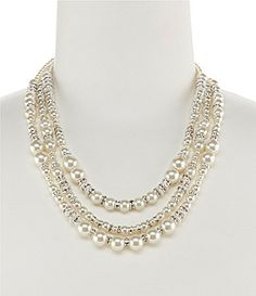 Cezanne TripleRow Mixed Pearls Necklace #Dillards