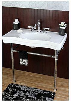 Imperial Vintage 36 Inch Wall Mount Chrome Pedestal Bathroom Sink Vanity