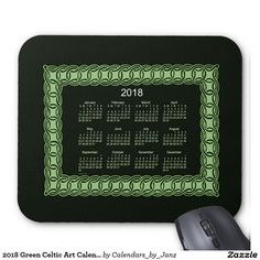 2018 Green Celtic Art Calendar by Janz Mouse Pad
