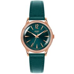 Buy Henry London's Stratford Swarovski wristwatch featuring a teal blue dial and a teal leather strap. London Watch, Oversized Watches, 1. Tag, Stitching Leather, Stone Jewelry, Teal Jewelry, Watch Brands, Luxury Watches, Rose Gold Plates