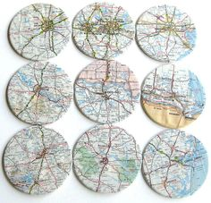 Texas Map Coasters // Recycled Map // Set of 9 by crabappledesign, $28.00