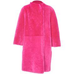Kimono Sleeve Coat | Moda Operandi ($5,490) ❤ liked on Polyvore featuring outerwear, coats, pink fur coat, pink coats and fur coat