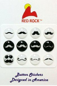 Amazon.com: Red Rock Black and White Mustache Styles 12 Pieces Home Button Stickers for iPhone 5 4/4s 3GS 3G, iPad 2, iPad Mini, iPod Touch: Cell Phones & Accessories