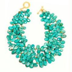 Caitlin Necklace.  Triple-strand turquoise with brass accents.
