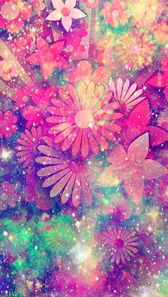 Hipster Flowers Galaxy Wallpaper #androidwallpaper #iphonewallpaper #wallpaper #galaxy #sparkle #glitter #lockscreen #pretty #pink #cute #girly #flowers #pattern #art #colorful