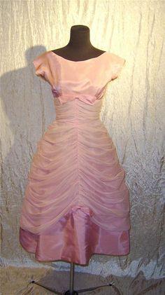 VINTAGE PINK Chiffon 1950's prom by KathysLittleAttic, $75.00