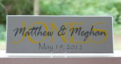 Personalized Family Name Sign. Last Name Wood Sign with Established Date. Great Wedding Gifts, Bridal Shower or Anniversary Gifts. $27.95, via Etsy.