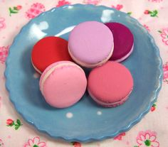 Valentine's Macarons - Enjoy the soft and fluffy meringue and almond based cookies filled with smooth cream frosting. This set of five macarons come in five delicious flavors: rose, lavender, mulberry, blackberry, and red velvet!  What's more romantic than celebrating Valentine's Day with a French dessert?  Not much!