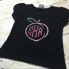"""Peach Monogram Embroidery Design. Font Not included Size: 2"""", 3"""" and 4"""""""