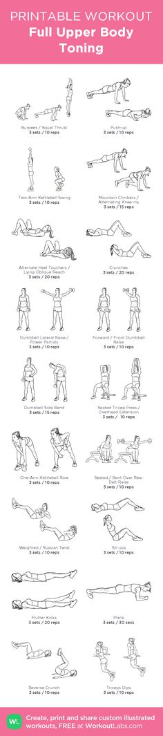 Full Upper Body Toning– my custom exercise plan created at WorkoutLabs.com • Click through to download as a printable workout PDF #customworkout
