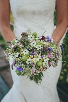 Wild Flower Bouquet | Lace Augusta Jones Dress | Summer Country Wedding | Outdoor Tipi Reception | Rustic Decor | Wild Flowers | Etsy Purple Bridesmaid Dresses | Festoon Lights | Helen Lisk Photography | http://www.rockmywedding.co.uk/eve-tim/