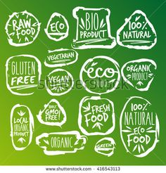 White Labels with vegetarian and raw food diet designs. Organic food tags and elements set for meal and drink,cafe, restaurants and organic products packaging.Vector illustrated bio detox logo.