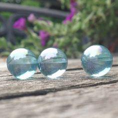3 Aqua Aura Quartz, 10mm round, Angel Aura, Pure and Clear, undrilled gemstone, Fairy Balls, Aqua Aura spheres - NO HOLE - pocket stone