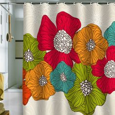 bright, fun, happy---opposite of me in the mornings...maybe this shower curtain would help get my day started right?