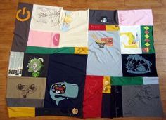 T-shirt quilt by Michelle Kempner is actually quite stylish and could be totally at home in a modern living room.