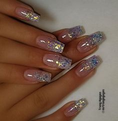 Glitter nail art designs are trendiest nail art of It becomes a constant favorite for every girl. It gives that extra edge to your nails and brightens up your dull nails. Glitter nails are…More Glitter Nail Art, Cute Acrylic Nails, Acrylic Nail Designs, Glitter Nail Designs, Baby Pink Nails With Glitter, Acrylic Nails Almond Glitter, Glitter French Manicure, Silver Glitter Nails, Sparkly Nails
