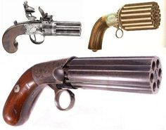 Pepperbox pistols were first used in the 1500s. The unusual gun features multiple rotating barrels numbering between four and 24.: