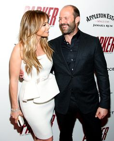 Jennifer Lopez and a grizzled Jason Statham laughed on the red carpet for the NYC premiere of Parker (hosted by FilmDistrict With The Cinema Society, L'Oreal Paris & Appleton Estate).