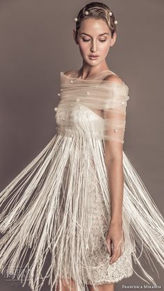 francesca miranda fall 2016 bridal pretty jewel illusion neckline sleevess fringed shift short wedding dress with tulle pearl beaded shaw style luisa