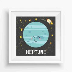 "Neptune,Cute Neptune,Planet Art Print,Nursery Decor,Kids decor print,Digital Prints,Wall Printable,instant download,8""x 8""Inches"