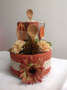 2 Tier Kitchen Towel Cake by flourlesscakes on Etsy