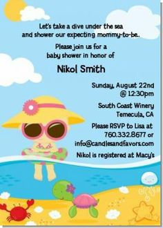 Baby Shower Pool Party Ideas digital pool party baby girl shower by spencervillejunction 1000 printable customized baby shower Beach Baby Asian Girl Baby Shower Invitations