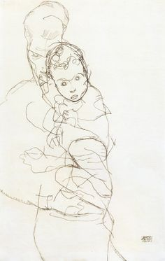 Mother and Child, 1914, Egon Schiele Size: 43.8x28 cm Medium: pencil on paper