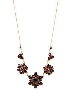 Vintage Gold & Garnet Floral Station Necklace