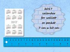 2017 Calendars Printable Mini, Wallet Pocket Card size, PDF File, 2017 calendar, calendars, Digital Download, Printable, Instant Download,  This listing including : 3 PDF file with printable 2017 mini calendars.  1) Pocket( wallet) size - 7 cm x 10 cm. 2) Credit card size - 8.6 cm x 5.4 cm. 3) Business card size - 9 cm x 5 cm.