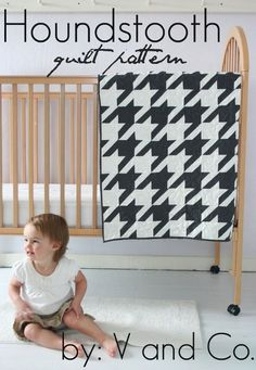 V and Co. Houndstooth Quilt - Downloadable Pattern : Pink Chalk Fabrics. Super cute!!!!