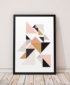 Geometric decor, Watercolor print, Nordic design, Minimalist print, Simple art, Triangle poster, Abstract wall art, Pink and gold