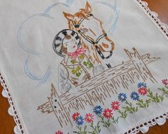 """Horse and Rider Table Runner Vintage Hand Embroidered Linen w Hand Crochet Trim 15.5"""" x 37"""" by VintageBabyByKay on Etsy"""