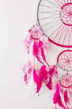 Fuchsia and Silver Dream Catchers from Earthbound Trading Co