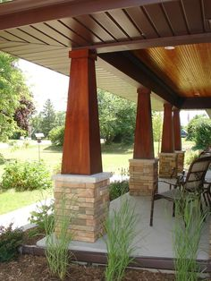 Craftsman porch.  Looking atcolumn design.  Love the wood tapers, but that's never happening.