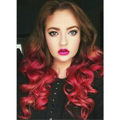 Gorgeous red dyed colored hair. Ombré color. Colour.