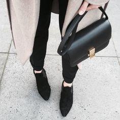 Celine bag, neutral coat, black jeans & ankle boots #style #fashion