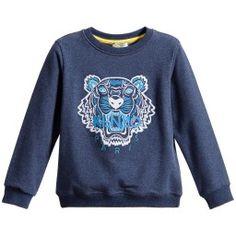 Kenzo - Navy Blue Cotton 'Tiger' Sweatshirt | Childrensalon