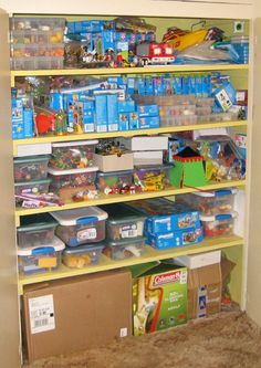 Closet of playmobils. mostly unopened boxes and storage bins with figures and accessories  Playmobil Storage - Laughing Giraffe