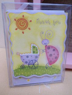 7 Sparkle THANK YOU Note Cards and Envelopes LADYBUG with Baby Carriage Springtime Fresh Polka Dots Pastel Colors Shower Gift